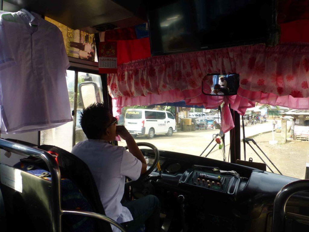 Водительское место в нашем автобусе